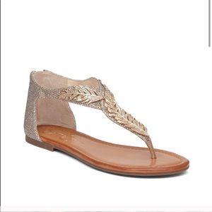 Jessica Simpson Kalie Gold Metallic Feather Sandal